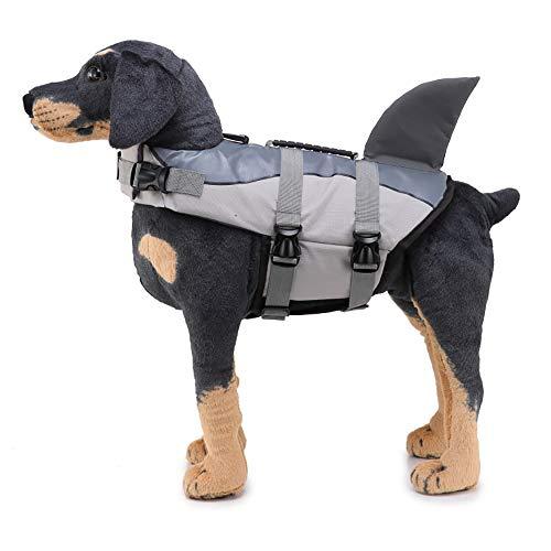 LONG-C Chaleco Salvavidas para Perros,para Mascotas Traje de baño Salvavidas con Correa Ajustable y asa de Rescate,Gray,S