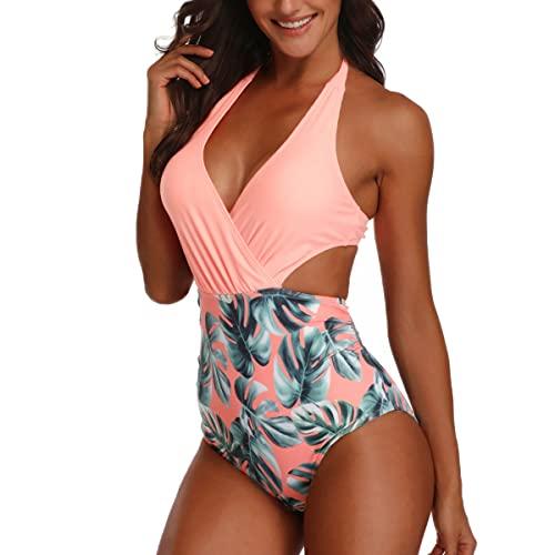 Joligiao Mujeres Retro Cintura Alta Trajes de Baño Una Pieza Flor Bañadores Conjunto Push Up Escote en V Profundo Halter Monokini Tankini Polka Dot Bikini