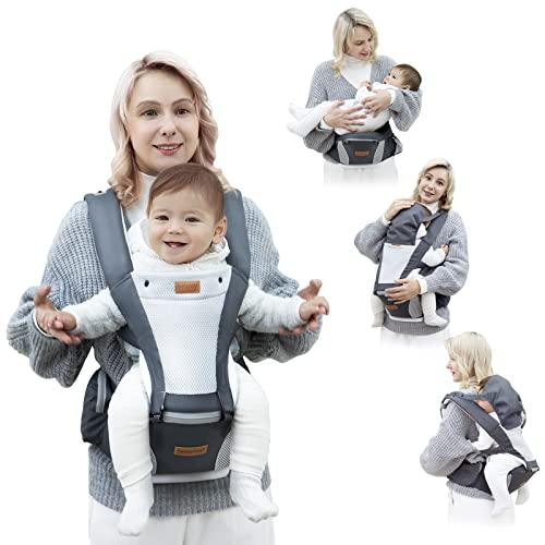 besrey Mochilas Portabebés Ergonómico con Asiento Puro algodón Ligero y Transpirable Ajustable para bebés de 4 a 36 meses (3.5 a 15 kg)