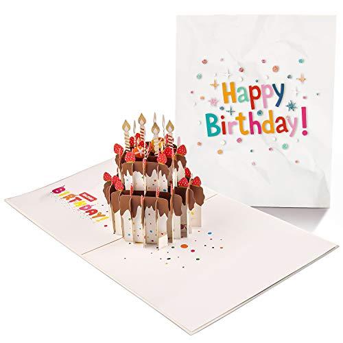 3D Karte, Hochzeitskarte Pop Up, Lustige Geburtstagskarte mit Umschlag, Exquisiter Papierschnitt, Faltbare Valentinstagskarte, das Beste Geschenk für Muttertag, Weihnachten, Jubiläum (Kuchen Erdbeere)