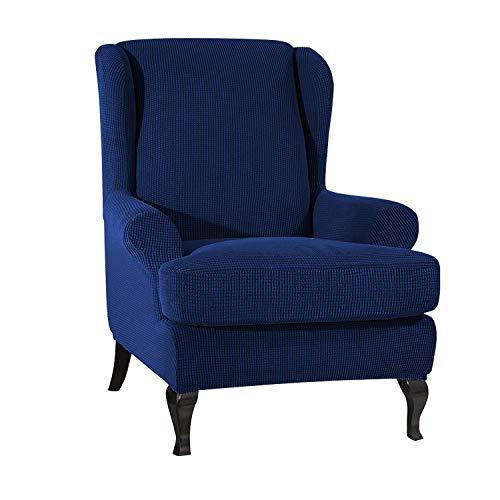 VanderHOME Stretch Sofabezug Ohrensessel husse ohrensessel bezug 1 Sitzer Stretch und antirutsch Sesselhusse Stretch sesselhussen Sessel bezug husse für ohrensessel Dunkelblau