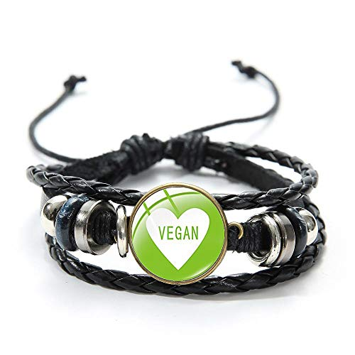 RelianceUK Harajuku Vegan Black Leather Bracelet Vegetarian Diet Go Organic Cartoon Printed Glass Dome Charm Bracelets for Women Men