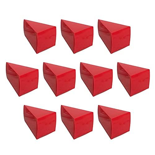 HELTER Cajas de dulces de boda, 100 cajas de regalo de triángulo rojo para fiestas, cajas de regalo pequeñas para galletas, caja de papel de caramelo, para bodas, cumpleaños, 3.7 x 2.4 x 2.2 pulgadas