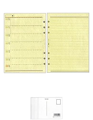 A5サイズ A5302 週間ホリゾンタルレフト式 WEEKLYフリーダイアリー システム手帳リフィル + 画材屋ドットコム ポストカードA