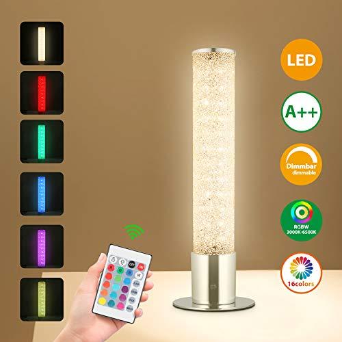LED Nachttischlampe Dimmbar 6W, Oraymin Tischlampen mit 15 RGB Farbe und 3000K Warmem Licht,Nachttischlampe mit Fernbedienung,Verlaufsmodus und Speicherfunktion, 480LM