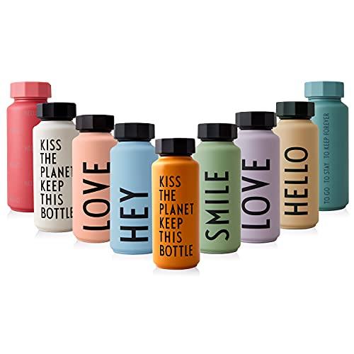 Design Letters Edelstahl Trinkflasche Senffarben | 500 ml | Kohlensäure geeignet BPA-Frei Thermoskanne | 12 Stunden Heiß und 24 Stunden Kalt | Auslaufsichere Thermosflasche im Nordisches Design