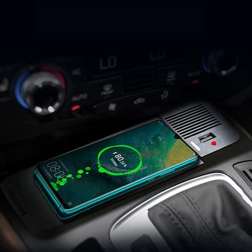 Paobiy Cargador inalámbrico para coche compatible con Audi A4L Q5 A5 S5 R5 SQ5 panel de accesorios de consola central,15W carga rápida teléfono cargador pad con 18W qc3.0 USB, para iPhone Samsung Note