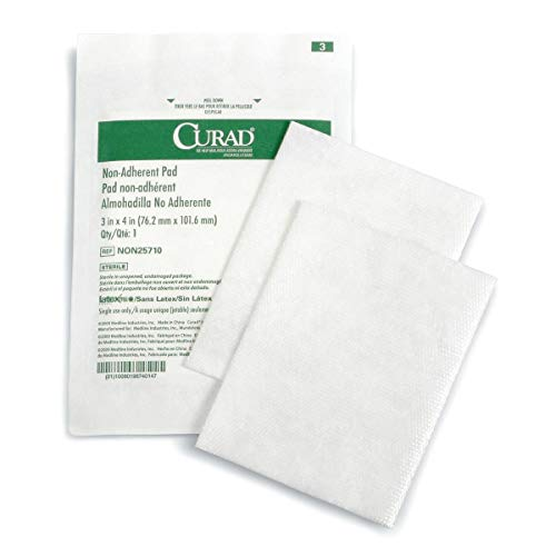 Curad Sterile Non-Adherent Pads (Pack of 100) for gentle wound dressing and absorption without sticking