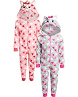 Mon Petit Baby Boys & Girls' Fleece Critter Hooded Onesie Pajamas - 2 Pack, Size 18 Months, Llama'