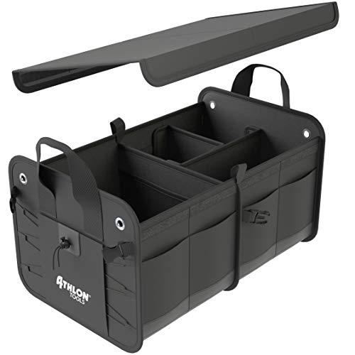 ATHLON TOOLS Premium Kofferraumtasche mit Deckel | Vergleichssieger 06/2020 - sehr gut - | 60 Liter XXL Kofferraum-Organizer | Extra stabile & wasserfeste Böden | mit Antirutsch-Klett