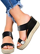 Eduavar Wedge Sandals for Women Dressy Womens Platform Espadrille Wedges Open Toe High Heel Sandals with Ankle Strap Buckle Up Shoes