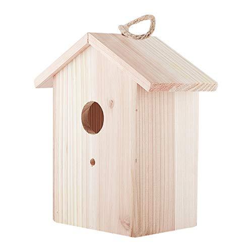 AHANDMAKER Casetta per Uccelli in Legno da Appendere All'Aperto, Uccelli Naturali Fuori Casa Giardino, Casetta per Uccelli da Appendere all'Esterno in Legno per Uccellini, Pappagalli Parrocchetti