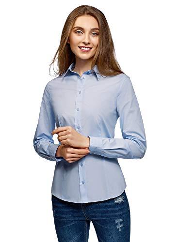 oodji Collection Mujer Camisa Entallada de Algodón, Azul, ES 46 / XXL