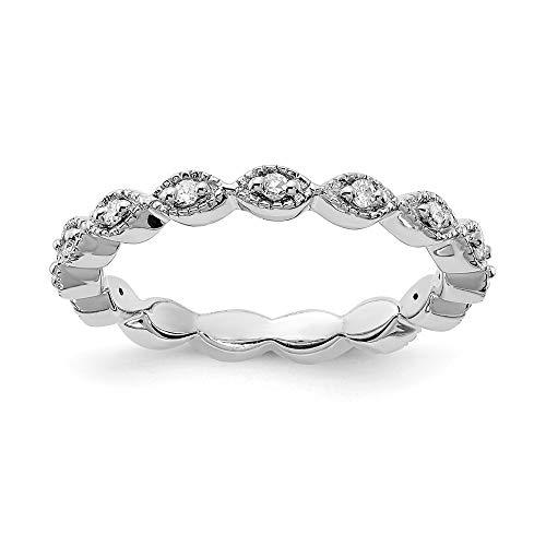 Plata esterlina expresiones apilables anillo de diamantes en bruto - tamaño 1 J/2 - JewelryWeb