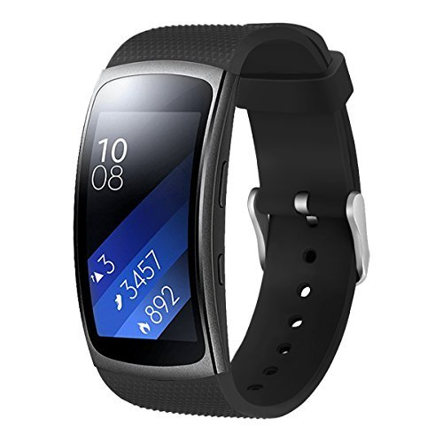 Aimtel Band Compatibel met Samsung Gear Fit 2 Pro Bandje & Gear Fit 2 Armband, Comfortabel Eiken Silicone Sportarmband Strap-Zwart