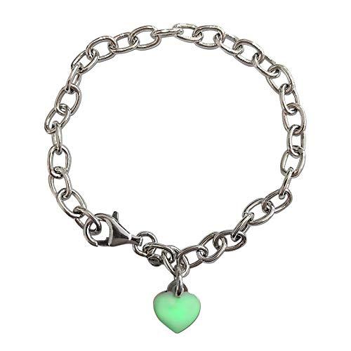 Loox Garnet Pulsera para mujer de plata 925/1000 blanca con esmalte verde, 18 cm, 4,5 gramos
