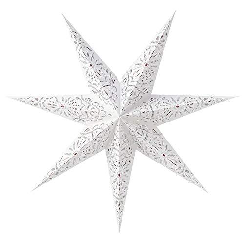 Weihnachtsstern IKEA Lampenschirm Strala sternförmiger Leuchtenschirm 70 cm aus Papier - Spitze weiß/rot