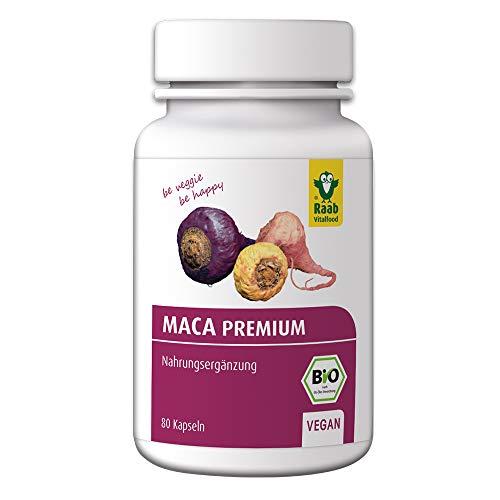 Raab Vitalfood Bio Maca-Kapseln, 80 Stück, vegan, glutenfrei, Maca-Wurzel aus Peru mit Glucosinolaten, Macamiden, ohne Zusätze, Maca Pulver, 40 g