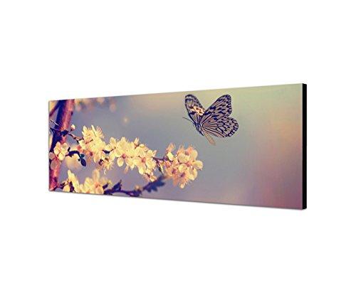 Quadro su tela panorama 150 x 50 cm fiori di ciliegio farfalla primavera vintage