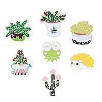 7個入 かわいいサボテンの植物鉢植えブローチ 领针 ピンブローチ 襟ピン ラペルピン ピンバッジ ファッション アクセサリー 装飾品