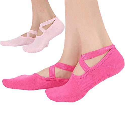 Yoga Socken für Damen rutschfest, Pilates Socken Kampfsport Fitness Tanz Barre, Full Toe Knöchel Sturzprävention Griffsocken 337-Rosa+Rose