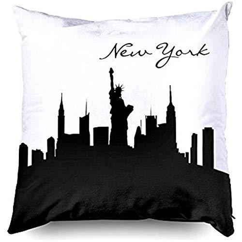 Beach345sley - Federa per cuscino, 16 x 16 cm, motivo skyline di New York in bianco e nero