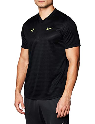 Nike Tenis Camiseta Rafa Challenger Negro/Amarillo Logo Rafa