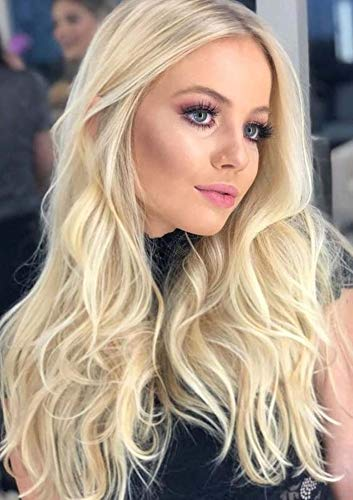 PINKSHOW Blonde Lace Front Wigs Blonde Long Wave Curly Synthetic Wigs for Women Ombre Dark Root Blonde Hair Replacement Wig Natural Hairline Heat Resistant Fiber Hair Wig 24 inch