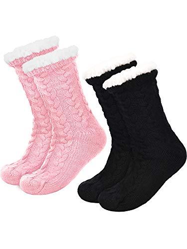 Boao 2 Paar Damen Warme Pantoffel Socken Weihnachten Fuzzy Socken Fleece-gefütterte Rutschfeste Pantoffel Socken (Schwarz und Rosa)
