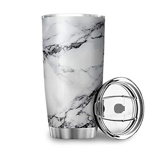 MiKiBi-77 Vaso de textura de mármol de acero inoxidable duradero aislado al vacío lindo botella de agua para adultos y adolescentes y niños blanco 20 onzas