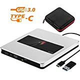 Nolyth Lettore CD DVD Esterno USB C Lettore Masterizzatore CD DVD Esterno Ottico SuperDrive per Apple Mac MacBook Pro Air iMac, Windows 10 argento USB C/USB3.0 External DVD CD Drive Silver