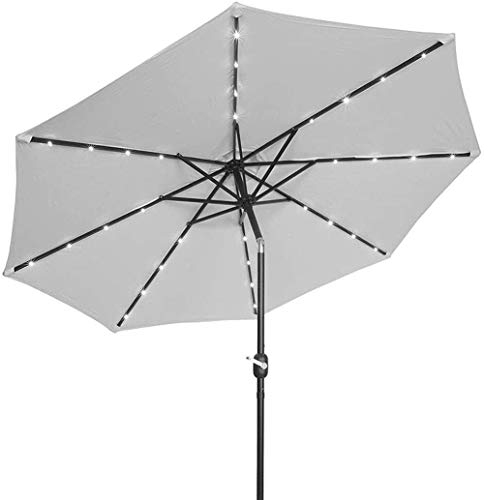 kyman Housewares Sun Parasol Umbrella Garden Parasoles 2.5M Cigüeñal Luz Solar Paraguas Market Patio Outdoor LED Paraguas Auto Carga LED Jardín Paraguas (Color: Púrpura) (Color : White)
