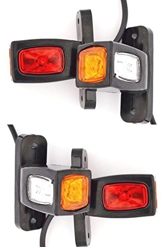 4 X latérales arrière Feux de gabarit 24 V 12 V Remorque van Truck Châssis caravane Camper Orange Blanc Rouge