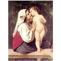 有名な絵画のポスターとキャンバスに印刷壁アート油絵キス写真ウィリアムアドルフによるリビングルームの装飾-60x100cmx1フレームなし