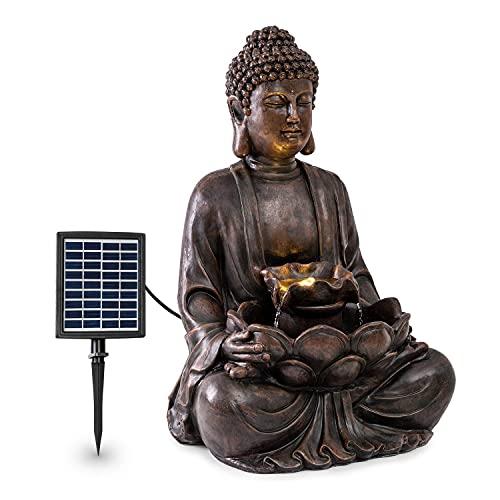 blumfeldt Dharma Solarbrunnen, Gartenbrunnen, Zierbrunnen, Dekobrunnen, Solarbetrieb, LED-Beleuchtung, 48 x 72 x 41 cm (BxHxT), Material: Polyresin, für drinnen und draußen, Bronze