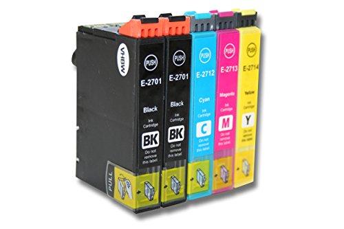 vhbw 5X Druckerpatronen Tintenpatronen Set für Epson Workforce WF-3620, WF-3620DWF, WF-3640, WF-3640TDWF, WF-7100 wie T2701, T2712, T2713, T2714