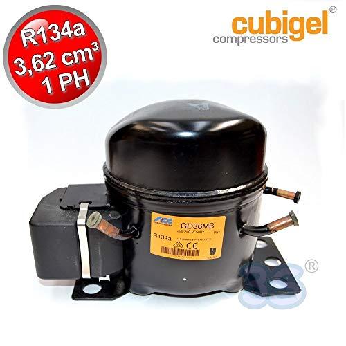 Compressore gas R134A CSIR - 1+ Hp - 3,62 cm3 - Cubigel GD36MB