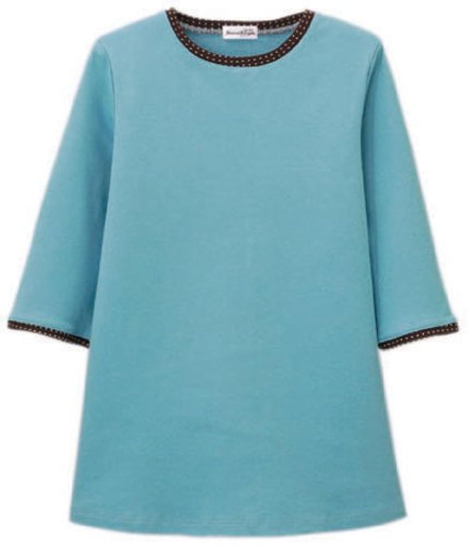 一貫性のない魅了するエスニック汗染み防止七分袖ゆったりプルオーバー(水玉柄) ターコイズ 3L
