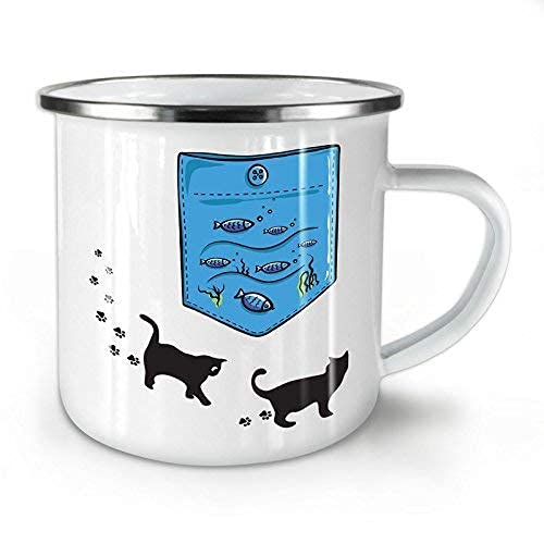 N\A Kitty Fish Sea Ocean Cat Taza esmaltada para Acampar y al Aire Libre - 11 oz