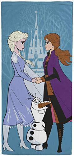 Disney Frozen 2 toalla de baño para niños con Elsa, Anna y Olaf, toalla de algodón supersuave y absorbente resistente a la decoloración, medidas 28 pulgadas x 58 pulgadas (producto oficial de Disney)