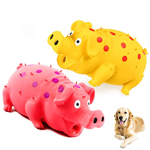 Squeaky Pig Dog Toys, 2 Pack Grunting Pig Dog Toy That Oinks Grunts for Small Medium Large Dogs, Durable Rubber Pig Squeaker Dog Puppy Chew Toys, Latex Interactive Squeak Funny Cute Dog Toy Set