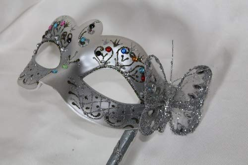 The Good Life Vénitien Masque de Mascarade Partie des Yeux Masque Argent Bijoux avec Papillon sur Un bâton