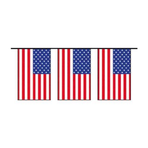 - - Bannière / Guirlande USA Etats-Unis En Plastique 15 Pavillons