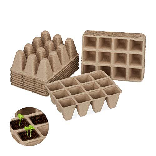 Relaxdays Anzuchttöpfe im Set, biologisch abbaubar, für Pflanzen, eckig, 204 Stück Pflanztöpfe, Zellulose, H: 5cm, beige