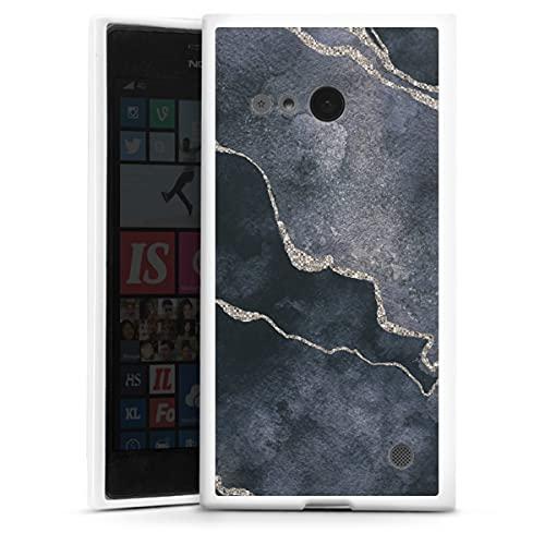 DeinDesign Silikon Hülle kompatibel mit Nokia Lumia 730 Hülle weiß Handyhülle Edelstein schwarz Marmor