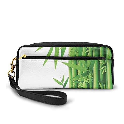 Pencil Case Pen Bag Pouch Stationary,Modern Image of Fresh Bamboo Stems Leaves with Colors Exotic Nature Themed Print,Small Makeup Bag Coin Purse