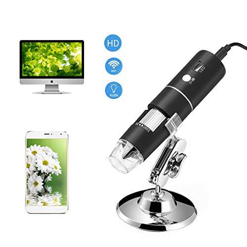 GIYL draadloze microscoop, handheld digitale USB-microscoopcamera, met 8 verstelbare ledlampen, voor cadeau-kinder-mini-zakken microscoop