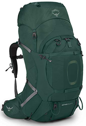 Osprey Aether Plus 70 Men's Backpacking Backpack , Axo Green, Small/Medium