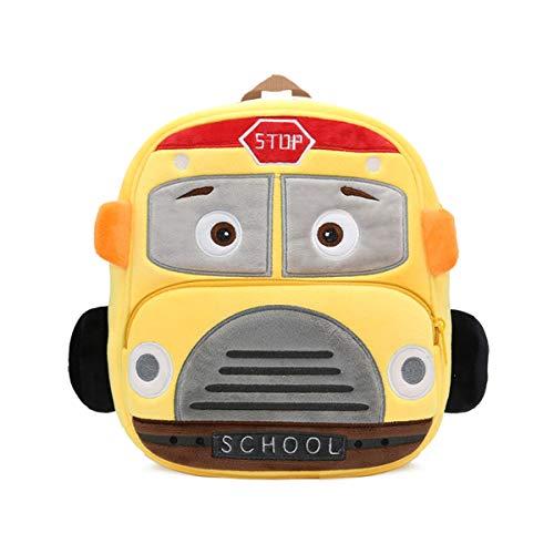 """Toddler Backpack for Boys Girls, 10"""" Car Preschool Bag Plush Cartoon Bookbag for Little Boys Girls Kids (School Bus)"""