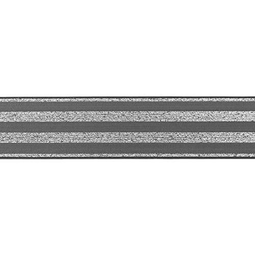 Zierstoff einfach nähen Dehnbares Gummiband, Elastic Band, Fashionband, Streifen mit Lurex, 40 mm breit - 3 Meter, Grau/Silber